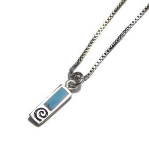 NAVAJO 925 Turquoise Bar Spiral Necklace